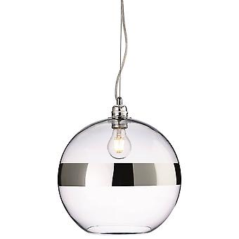 Firstlight Saturn - 1 Light Globe Ceiling Pendant Chrome, Clear Glass, E27