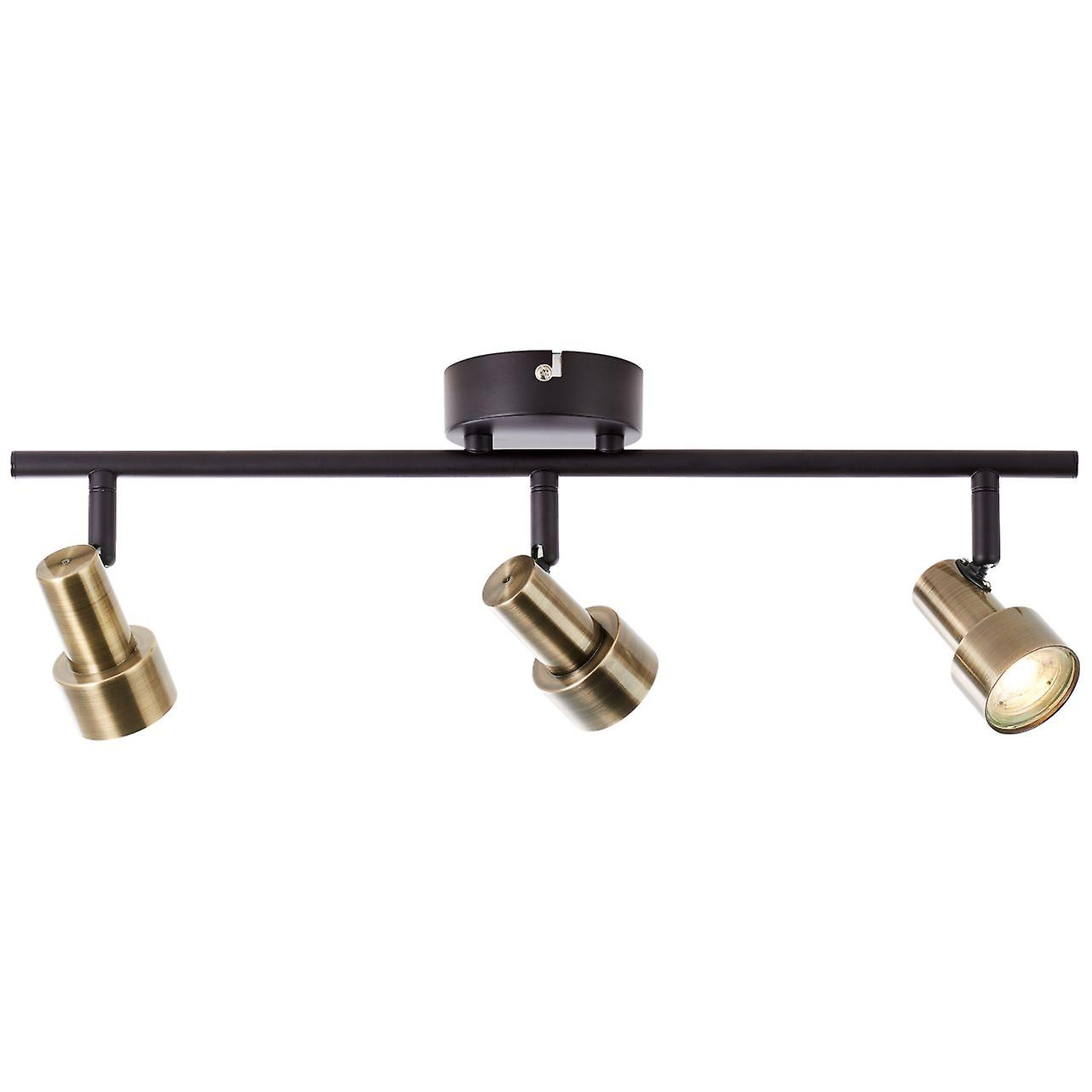 BRILLIANT Lampe Croyden LED Spotrohr 3flg messing/schwarz | 3x 4W LED integriert, 350lm, 3000K | Köpfe schwenkbar | Energiesparend und langlebig durch LED-Einsatz