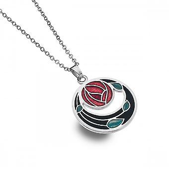 Sea Gems Charles Rennie Mackintosh Rose Coils Charm Necklace - Black Red 7260xr