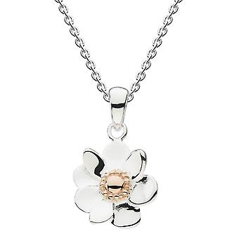 Dew Silver Anemone Flower With Rose Gold Plate Pendant 9084RG024