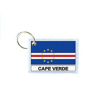Porte cles cle clefs imprime double face drapeau CV Cabo verde