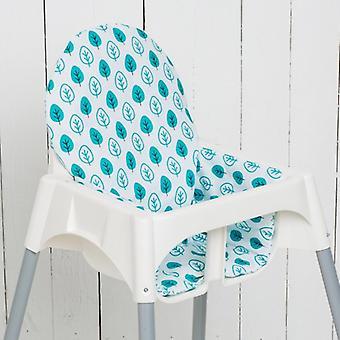 Puckdaddy Sitzkissen Enja für IKEA Hochstuhl Antilop Blättermuster petrol weiß