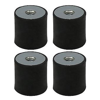 4 Pieces 15x15mm DD Type Rubber Shock Absorber Dampers M4 Thread Black