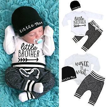 Newborn Baby Clothes Long Sleeve Romper, Pant, Hats Outfit