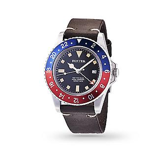 Foxter Sixties men's watch black leather strap, steel case and black background - SIXTIES4