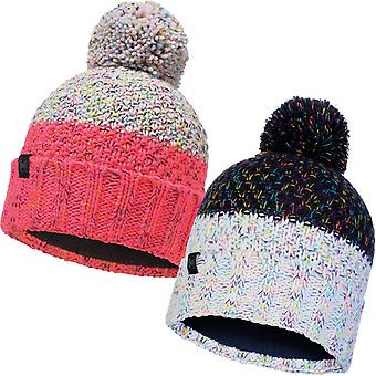 Buff Womens Janna Chunky Fleece Lined Knitted Warm Winter Bobble Beanie Hat