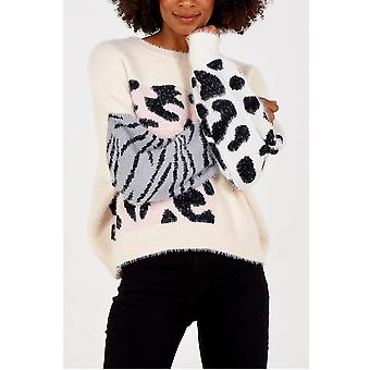 Evie Animal Print Jumper | Cream
