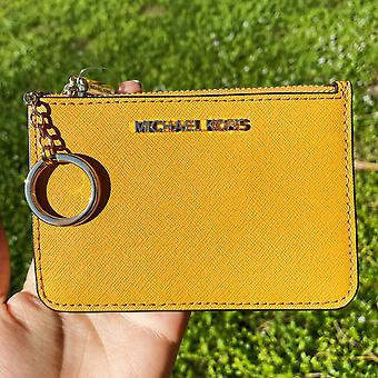 Michael kors jet set travel small leather top zip coin pouch id marigold