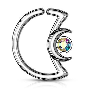 Ear cartilage,daith hoop tragus rings crescent moon with crystal design s. steel