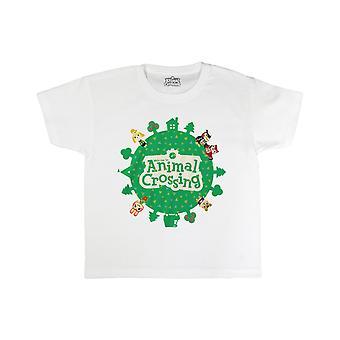 Kids Animal Crossing T-Shirt - Logotyp - Officiell Nintendo Boys Girls Gaming