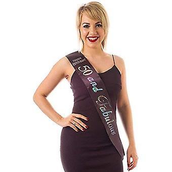 Alandra birthdays s-50-bs-birth black diamante 50 and fabulous sash, unisex-adult, one size