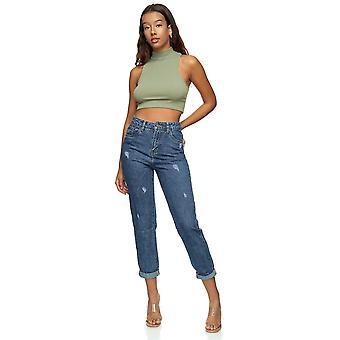 Mujeres de cintura alta 5-Pocket Jeans Regular Fit Bleached Wash Design Denim 3/4 Pantalones
