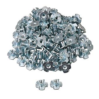 100 x Steel Four Claws Blind Pronged T Nut Blind Inserts Nuts M4x7.6mm