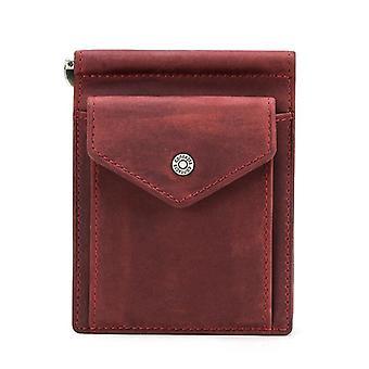 Short Men Money Clip Oil Nubuck Cow Leather Wallets