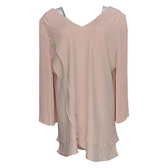 Laurie Felt Women's Plus Top Woven Reversible Pleated Sleeve Pink A379346
