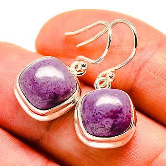 """Charoite Earrings 1 1/8"""" (925 Sterling Silver)  - Handmade Boho Vintage Jewelry EARR408868"""