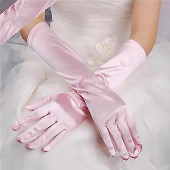 Satin Women Long Gloves, Female Elbow Sun Protection Driving Mittens