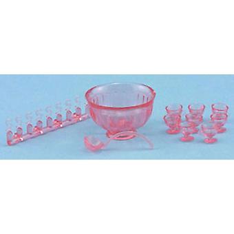 Nuket Talo Vaaleanpunainen Punch Bowl Set Chrysnbon Miniatyyri koristeet