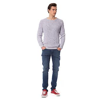 Trussardi Jeans E Grey Ribbed Long Sleeve Sweater