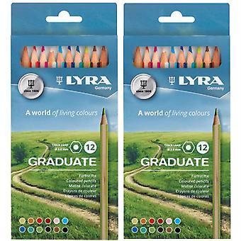 Graduate Colored Pencils, Cardboard Box, 12 Per Box, 2 Boxes