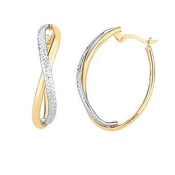 14K keltainen ja valkoinen kulta timantti leikattu kaksi sävy Infinity Oval Vannekorvakorut