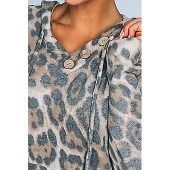 Casual Leopard Print Kangaroo Pocket Hoodie