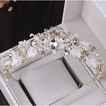 Vintage Crystal Leaf Pearl Costume Jewelry Sets, Rhinestone, Choker Necklace,