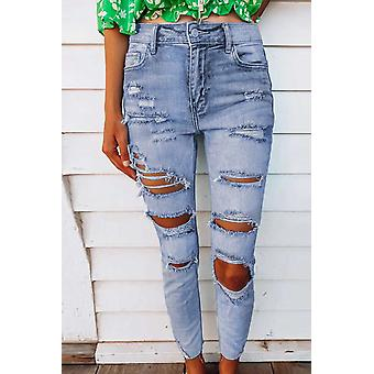 Light Wash Skinny Hole Jeans