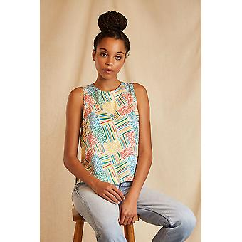Louche Sustain Womens Ophelia Malet Patchwork Tie Back Top Multi