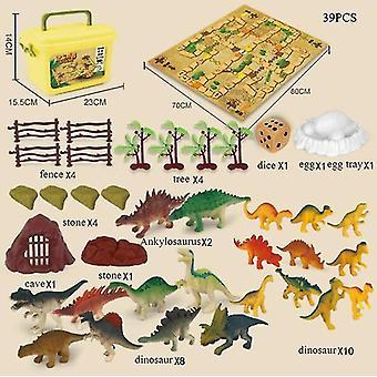 Dinosaur Set Toy Model Children's Educational Dinosaur Flying Chess Toy 39 Piece Set