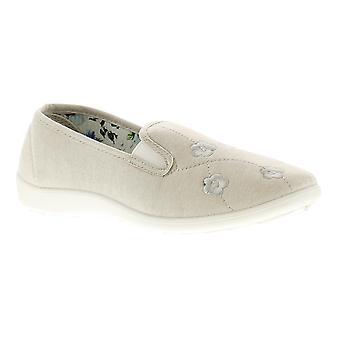 Dr Keller Connie Womens Ladies Canvas Shoes Pumps Trainers Beige UK Size