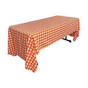 Poliéster de lino Gingham a cuadros 60 por mantel rectangular de 120 pulgadas, blanco y naranja