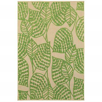 5' x 8' Sand and Lime Green Leaves Indoor Outdoor Area Rug