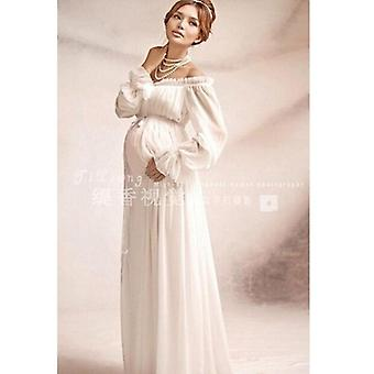 New Royal Style White Maternity Lace Dress, Pregnant Photography Props Photo