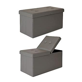 HanFei SO00471 Sitzbank Klappdeckel Kunstleder, grau