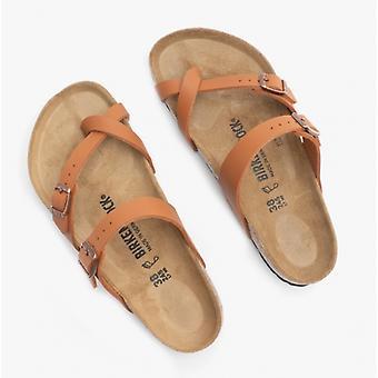 Birkenstock Mayari 1019053 (reg) Ladies Birko-flor Cross Strap Sandals Ginger Brown