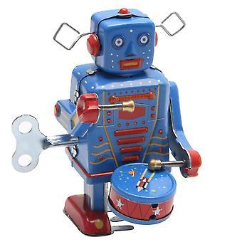 Retro óramű felhúz fém walking robot játék