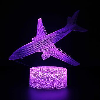 3D Illusion Lampa 7 kolory Optyczna zmiana Touch Light USB i pilot art deco Make A Romantic Atmosphere Christmas Valentine's Birthday Gift -Plane#274