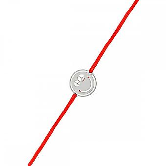 Smiley silver cord bracelet and red cord 'apos;Peace and Love'