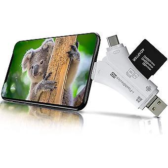 FengChun Micro SD Kartenleser, 4 in 1 TF/SD Kartenleser USB Kartenlesegerät für iPhone iPad Android