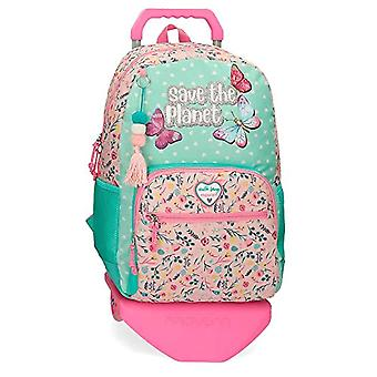 Movom Save the Planet Backpack with Multicolor Trolley 33x45x17 cms Recycled Polyester 25.25L