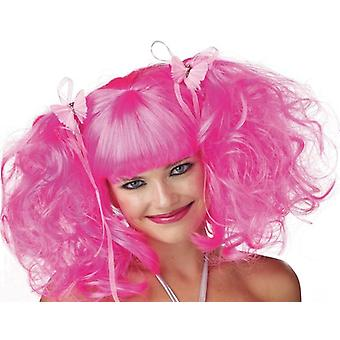 Pink Pixie Clown Doll Pigtails  Women Costume Wig