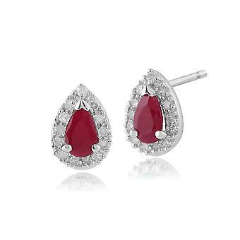 Aretes de racimo de diamantes y rubíes clásicos en oro blanco de 9 qt 123E0693029