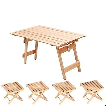 Garden Furniture Sets Solid Wood Folding Table And Stool Set