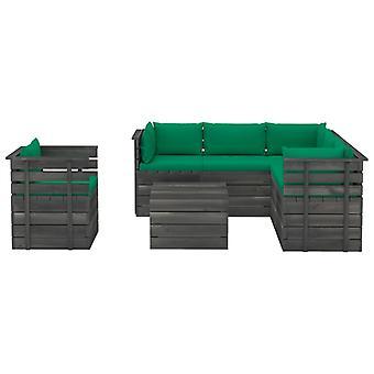 vidaXL 7-tlg. Garten-Sofagarnitur aus Paletten mit Kissen Kiefernholz