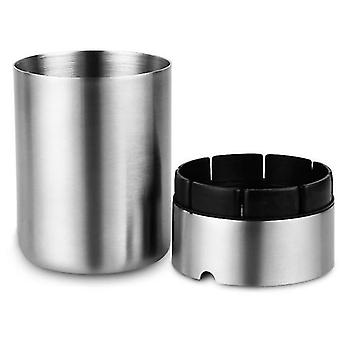 Samll stainless steel car ashtray with lid x1073