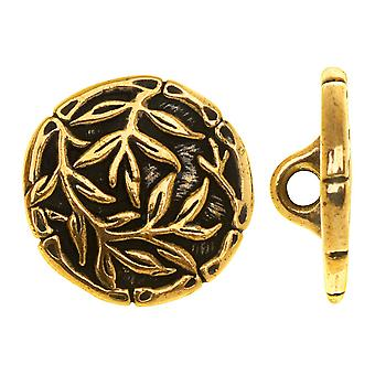 Peltro TierraCast, bottone rotondo bambù 16mm, 1 pezzo, oro anticato