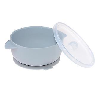 Grey high temperature silicone tableware binaural bowl for baby training x5376