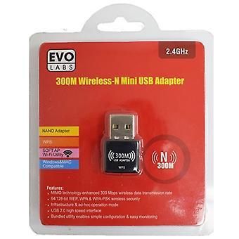 Evo Labs N300 Wireless N Mini USB Wi-Fi Netzwerkadapter