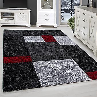 Stue tæppe AWAI kort bunke kontur cut designer ternet marmor look
